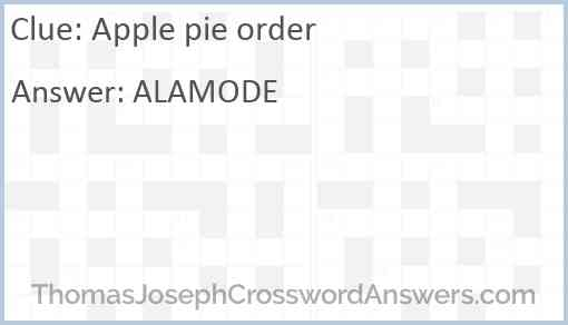 Apple pie order Answer