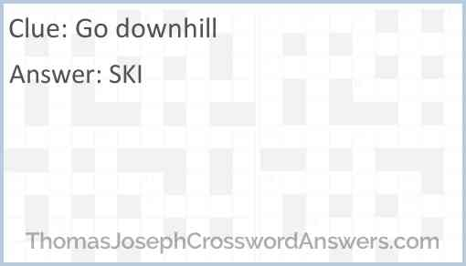 Go downhill Answer