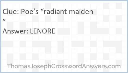 """Poe's """"radiant maiden"""" Answer"""