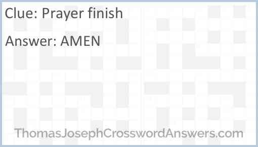 Prayer finish Answer